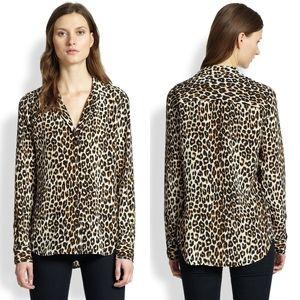 Equipment Leopard Print Silk Adalyn Blouse Top